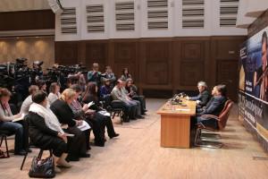 Пресс-конференция на сцене ГКЗ им Каца.Фото Алексей Цилер